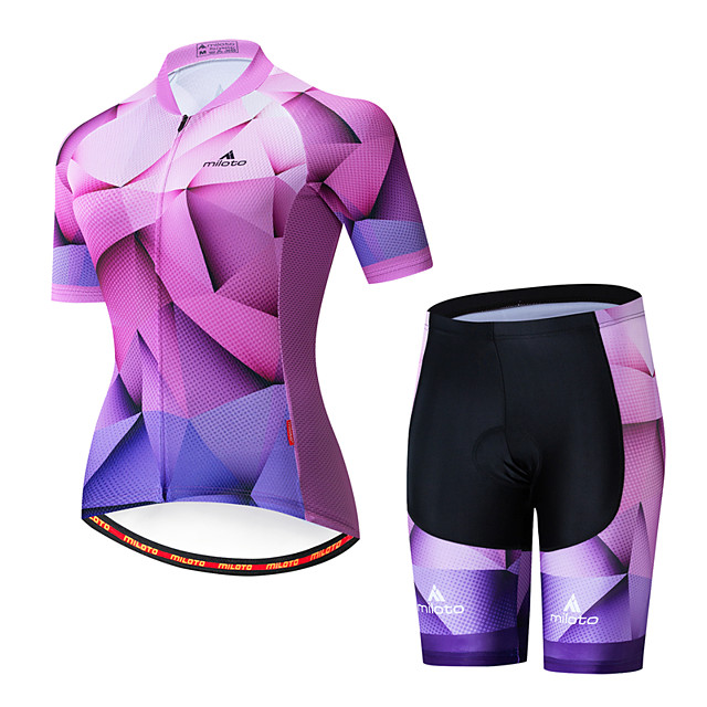 Miloto Women's Short Sleeve Cycling Jersey with Shorts Purple Bike Breathable Sports Patterned Mountain Bike MTB Road Bike Cycling Clothing Apparel / Stretchy