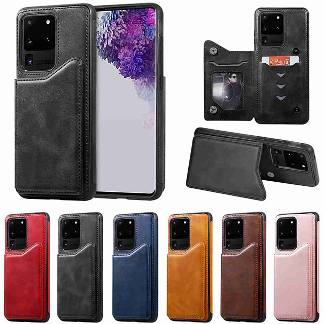 Case For Samsung Galaxy S20 / S20 Plus / S20 Ultra Wallet / Card Holder / with Stand Back Cover Solid Color Calf Print PU Leather / TPU for Galaxy S10 / S10E / S10 Plus / A50(2019) / A30S(2019)