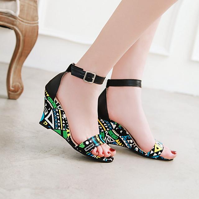 Women's Sandals Wedge Sandals Summer Wedge Heel Open Toe Daily PU Black / Purple / Yellow