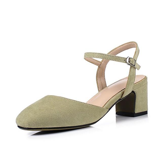 Kadın's Sandaletler Yaz Kalın Topuk Sivri Uçlu Günlük Süet Siyah / Pembe / Yeşil