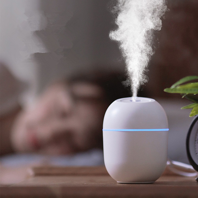 Ultrasonic mini air humidifier 200ML aromatherapy essential oil diffuser suitable for family car USB atomizer equipped with LED night light