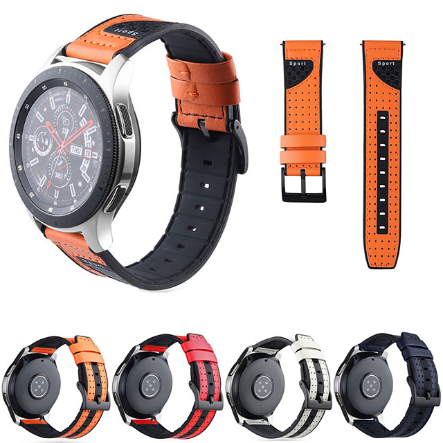 Watch Band for Gear S3 Frontier / Gear S3 Classic / Gear S3 Classic LTE Samsung Galaxy Sport Band / Classic Buckle Silicone / Genuine Leather Wrist Strap