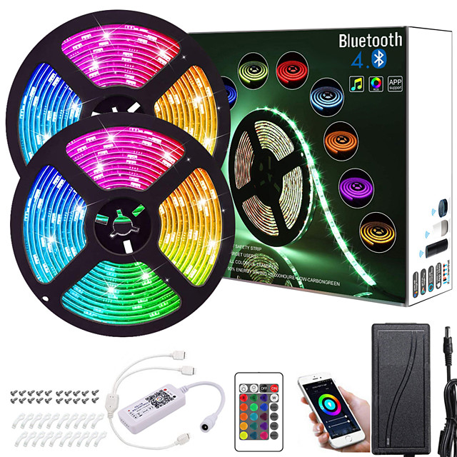ZDM 32.8ft  2*5M App Intelligent Control Bluetooth Music Sync Flexible Led Strip Lights 5050 RGB SMD 300 LEDs IR 24 Key Bluetooth Controller with Installation Package 12V 4A Adapter Kit
