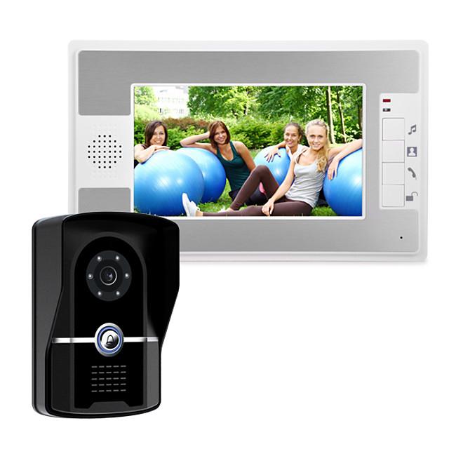 7 Inch Wire Video Door Phone Home Intercom System IR Camera IP55 Level Waterproof with Unlock Monitor Function P812FG11