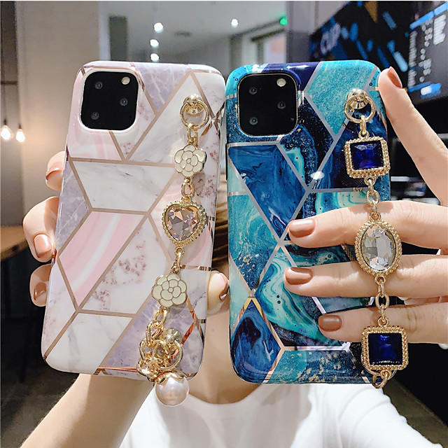 iPhone11Pro Max Stitching Geometric Marble Pattern Mobile Phone Case XS Max Women's Rhinestone Luxury Bracelet Silicone Soft Shell 6/7 / 8Plus Protective Case