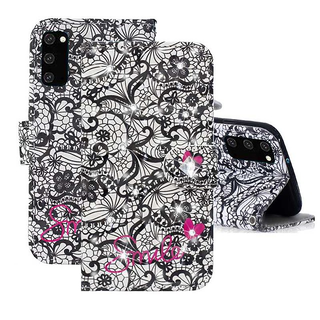 Case For Samsung Galaxy A91 / M80S / Galaxy A81 / M60S / S20 Plus Wallet / Rhinestone / with Stand Full Body Cases Flower PU Leather For Samsung Galaxy S20 Ultra/A01/A11/A21/A41/A70E