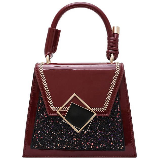 Women's Bags PU Leather Top Handle Bag for Daily Wine / Black / Green