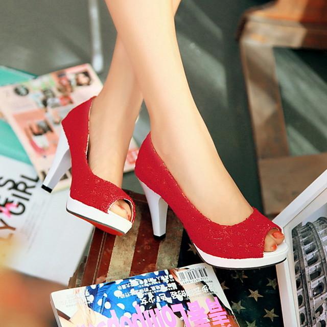 Women's Sandals Platform Sandal Summer Platform Peep Toe Daily Mesh White / Black / Red