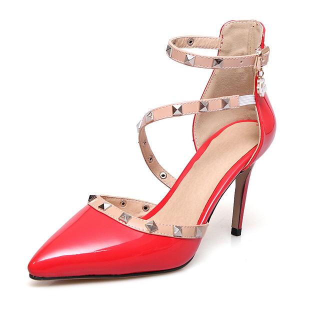 Women's Sandals Summer Stiletto Heel Pointed Toe Daily PU White / Black / Red