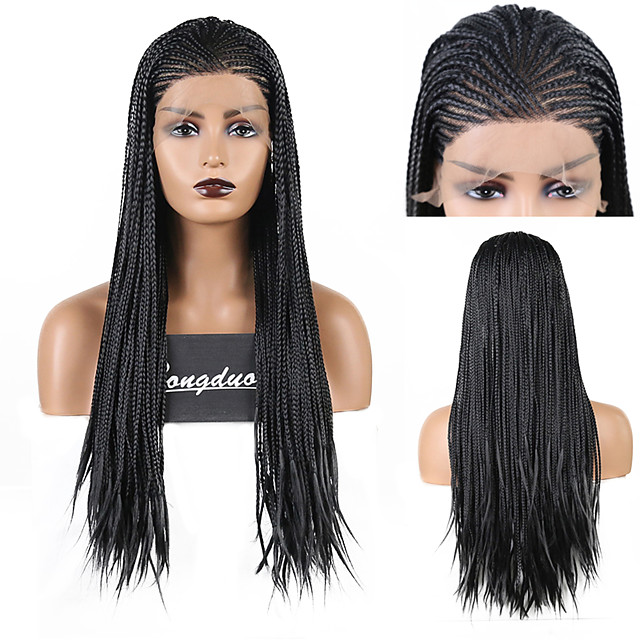 Synthetic Lace Front Wig Box Braids Plaited Middle Part Lace Front Wig Long Black#1B Synthetic Hair 18 24 inch Women's Party Women Synthetic Black