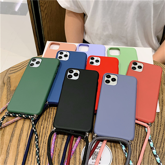 Fashion Colored Strap Candy Phone Case For iPhone SE2020 / 11 / 11Pro / 11 Pro Max / X / XS  /XR / XS Max / 8Plus / 8 / 7Plus / 7 / 6Plus /  6 / 6S Plus  / 6s Matte Soft Silicone Lanyard Case Cover