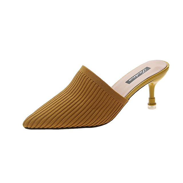 Women's Sandals Summer Flared Heel Pointed Toe Daily PU Black / Yellow / Beige