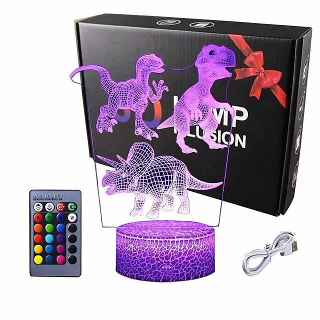 Dinosaur 3D Illusion LED Night Lamp Desk Lamp 3D Optical Illusion Visualization LED Night Lights Table Lamp 16 Colors 3D Illusion Lights Multicolored USB Power for Living Bed Room Bar Best Gift Toys
