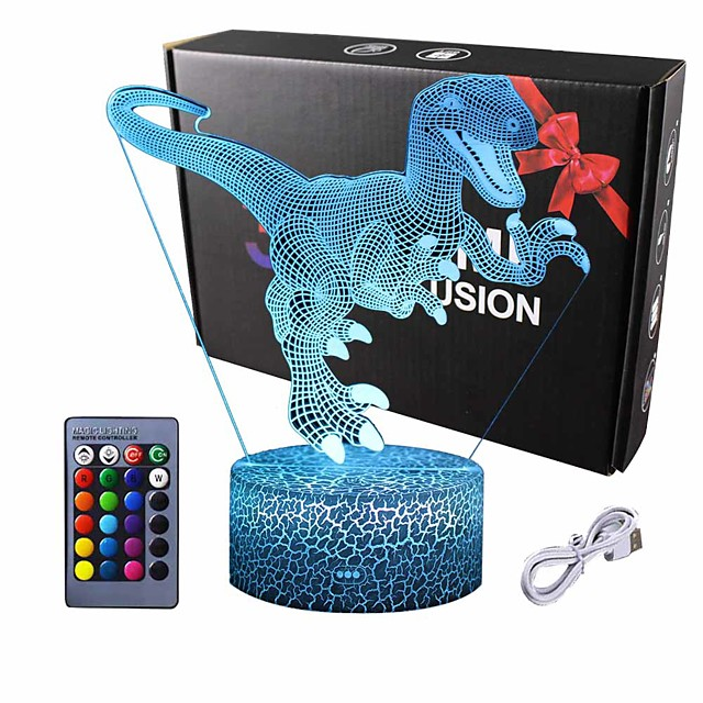 Dinosaur 3D Night Light Table Desk Lamp  16 Colors Optical Illusion Touch Control Lights with Acrylic Flat & ABS Base & USB Cable for Christmas Gift