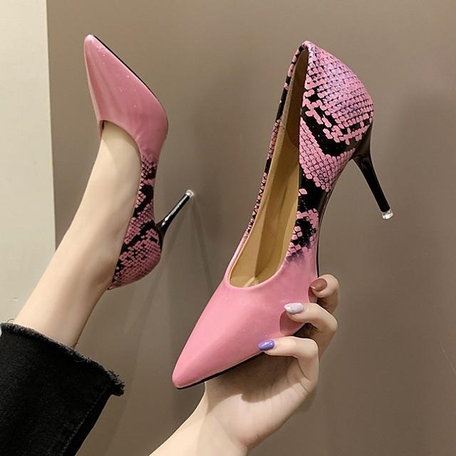 Women's Heels Summer Stiletto Heel Pointed Toe Daily PU Pink / Beige / Silver