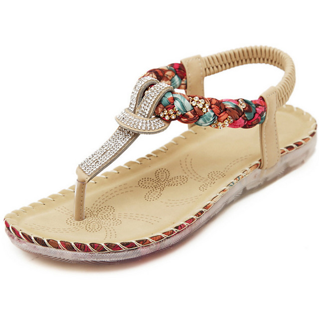 Women's Sandals Flat Sandals Summer Flat Heel Open Toe Daily PU Black / Beige / Dark Blue