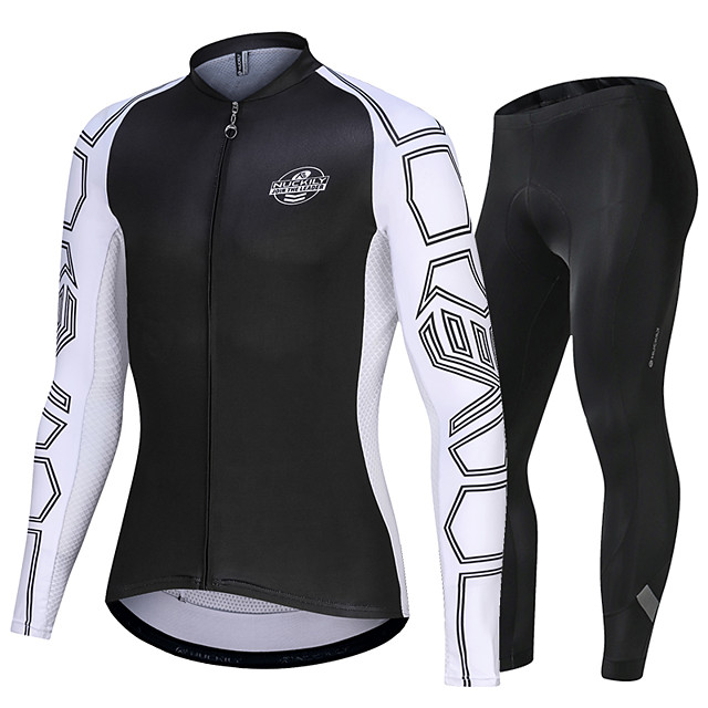 Nuckily Men's Long Sleeve Cycling Jersey with Tights Black Bike Sports Geometic Road Bike Cycling Clothing Apparel