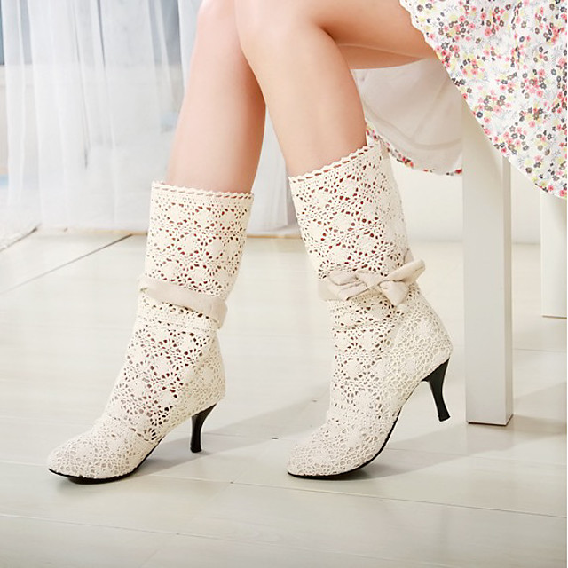 Women's Boots Summer Pumps Round Toe Daily Faux Leather Mid-Calf Boots White / Black / Brown