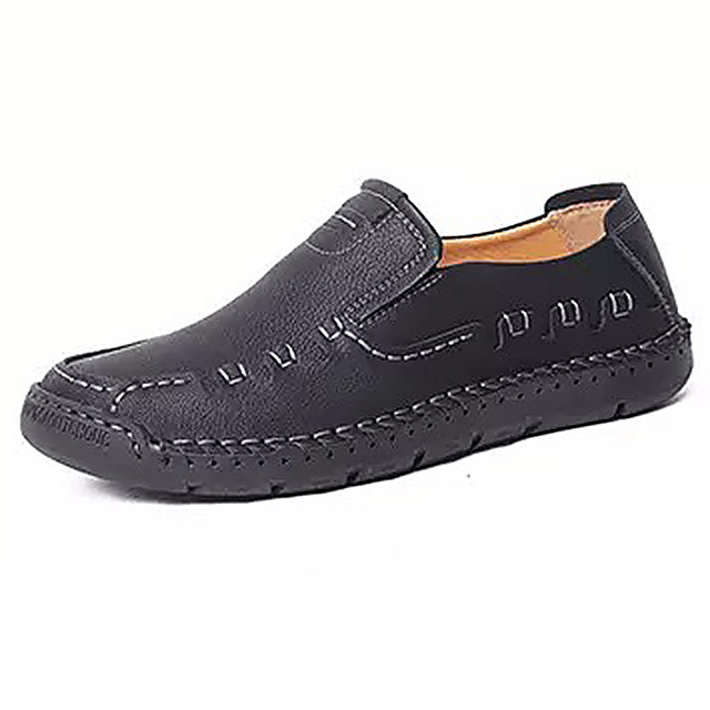 Men's Summer Casual Daily Loafers & Slip-Ons PU Non-slipping Black / Yellow / Khaki