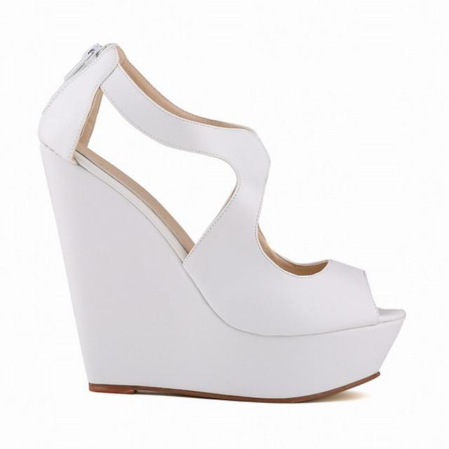 Women's Sandals Summer Wedge Heel Peep Toe Daily PU White / Black / Yellow