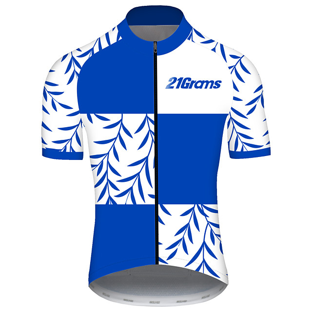 21Grams Men's Short Sleeve Cycling Jersey Spandex Polyester Blue and White Bike Jersey Top Mountain Bike MTB Road Bike Cycling UV Resistant Breathable Quick Dry Sports Clothing Apparel / Stretchy