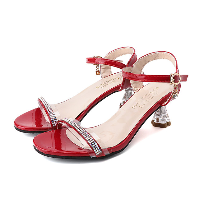 Women's Sandals Summer Pumps Open Toe Minimalism Daily Outdoor PU Black / Red / Gold