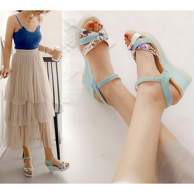 Women's Sandals Wedge Sandals Summer Wedge Heel Peep Toe Daily Solid Colored PU White / Pink / Blue