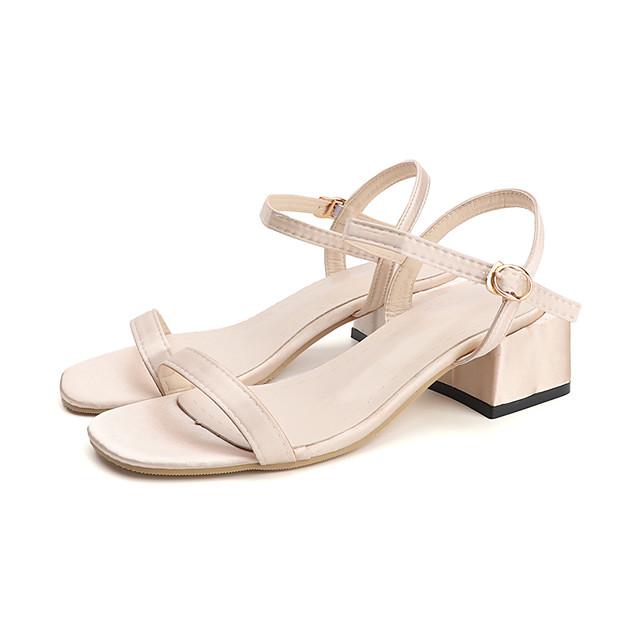 Women's Sandals Summer Block Heel Open Toe Casual Daily Buckle Canvas / PU Black / Beige