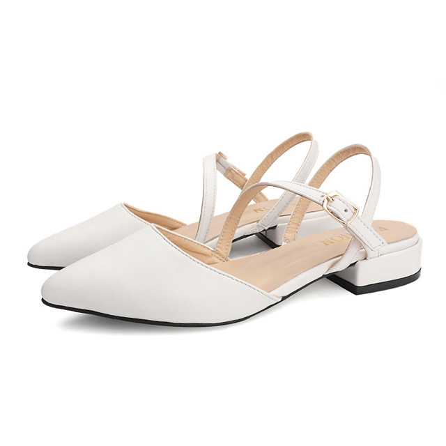 Women's Clogs & Mules Summer Block Heel Pointed Toe Casual Sweet Daily Outdoor PU White / Black