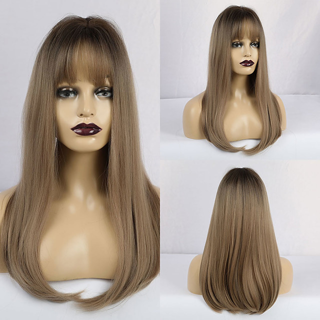 Synthetic Wig Matte Natural Straight Middle Part Neat Bang Wig Long Light Brown Synthetic Hair 20 inch Women's Natural Hairline Waterfall Light Brown
