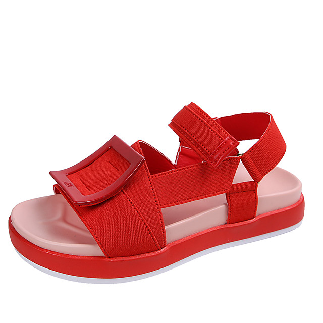 Women's Sandals Flat Sandal 2020 Spring &  Fall / Spring & Summer Flat Heel Open Toe Casual Preppy Daily Outdoor PU Black / Red / Pink