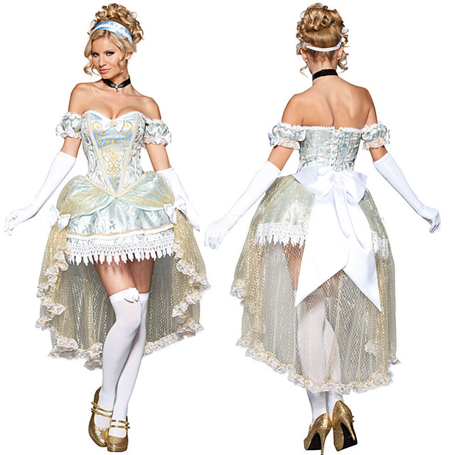Princess Cinderella Dress Outfits Women's Movie Cosplay Cosplay Halloween Light Blue Dress Gloves Headwear Children's Day Masquerade Tulle Polyester