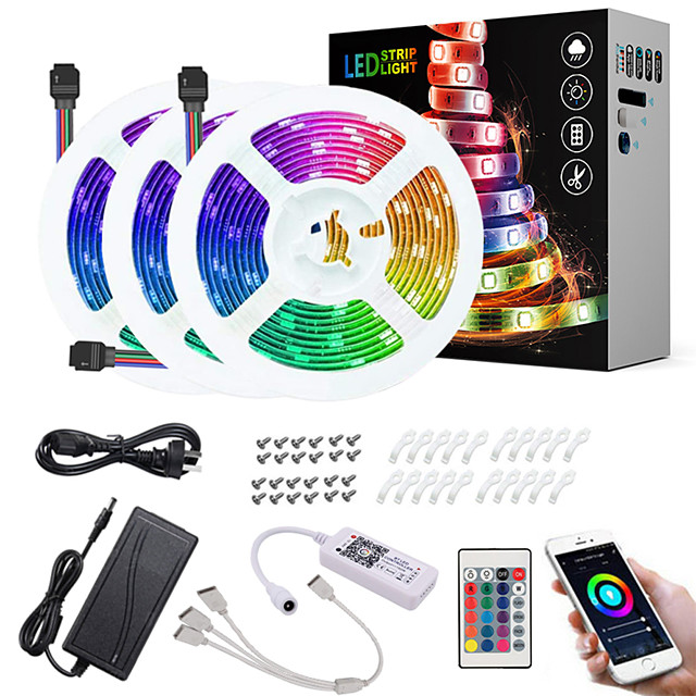 ZDM 15M(3*5M) LED Light Strips RGB Tiktok Lights App Intelligent Control Bluetooth Music Sync Waterproof Flexible 5050 SMD 450 LEDs IR 24 Key Bluetooth Controller with Installation Package 12V 6A Adap
