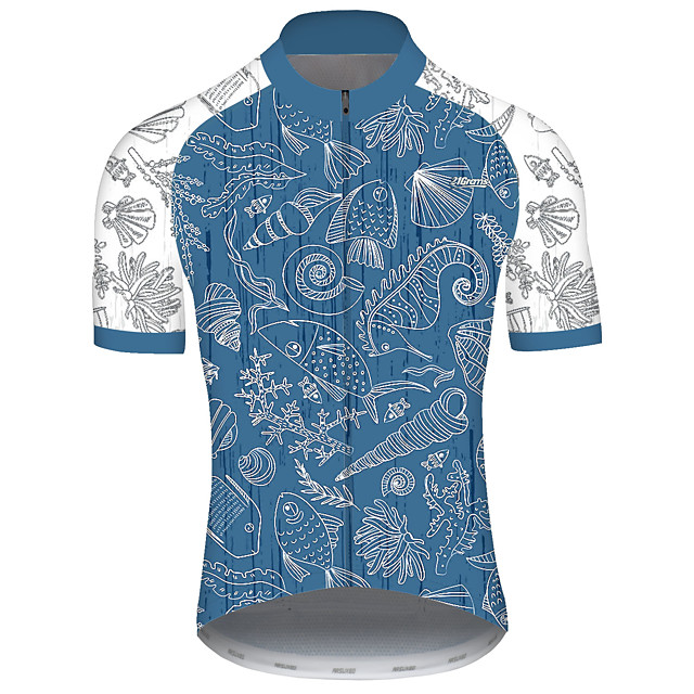 21Grams Men's Short Sleeve Cycling Jersey Spandex Polyester Blue Polka Dot Bike Jersey Top Mountain Bike MTB Road Bike Cycling UV Resistant Breathable Quick Dry Sports Clothing Apparel / Stretchy