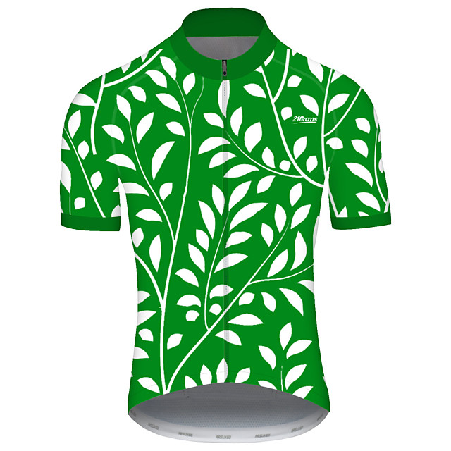21Grams Men's Short Sleeve Cycling Jersey Spandex Polyester Green Polka Dot Bike Jersey Top Mountain Bike MTB Road Bike Cycling UV Resistant Breathable Quick Dry Sports Clothing Apparel / Stretchy