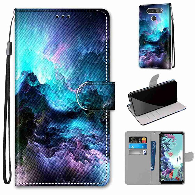 Case For LG Q70 / LG K50S / LG K40S Wallet / Card Holder / with Stand Full Body Cases Colorful Clouds PU Leather / TPU for LG K30 2019 / LG K20 2019