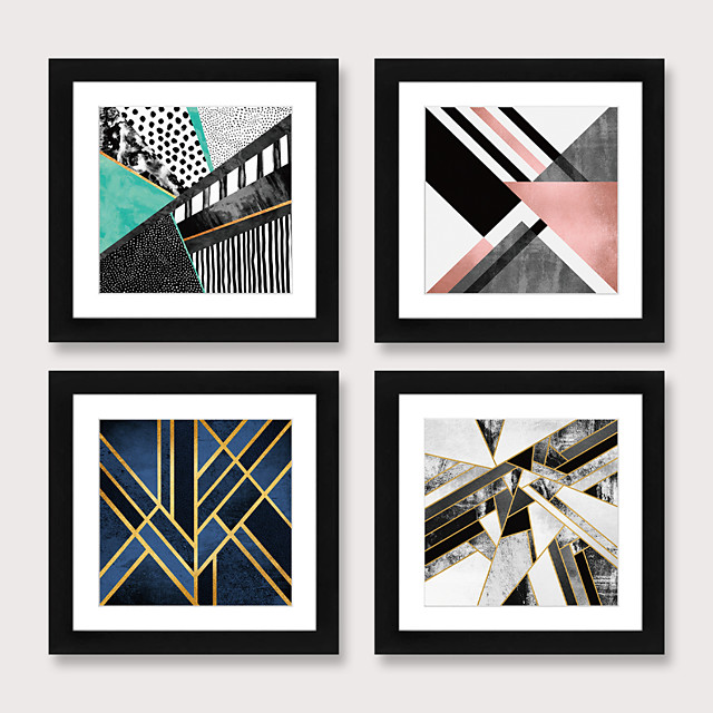 Framed Art Print Framed Set 4 American Style Pastoral Decorative Painting French Style Dining room Fresco Porch Bedroom Bedside  Abstract  Hanging Pictures
