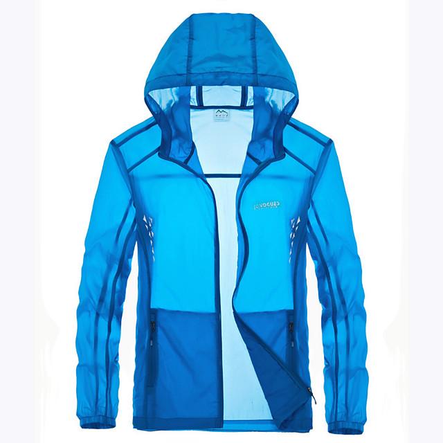 Men's Hiking Skin Jacket Hiking Jacket Summer Outdoor Waterproof Sunscreen Breathable Quick Dry Jacket Hoodie Top Running Hunting Fishing White / Grey / Sky Blue / Blue / Camping / Hiking / Caving