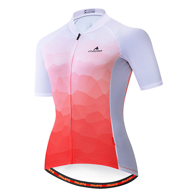 Miloto Women's Short Sleeve Cycling Jersey Red / White Bike Jersey Top Mountain Bike MTB Road Bike Cycling Breathable Quick Dry Sports Clothing Apparel / Stretchy