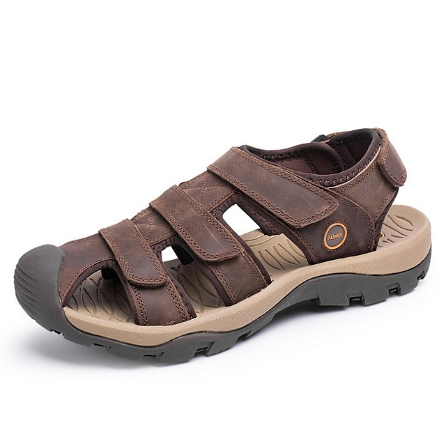 Men's Summer Outdoor Sandals PU Non-slipping Light Brown / Khaki / Brown