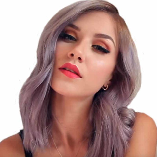 Synthetic Wig Curly Matte Side Part Wig Long Dark Purple Synthetic Hair 14 inch Women's Ombre Hair curling Fluffy Purple