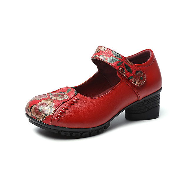Women's Heels 2020 Spring / Fall Cuban Heel Round Toe Chinoiserie British Daily Outdoor Leather / Nappa Leather Walking Shoes Dark Red / Black