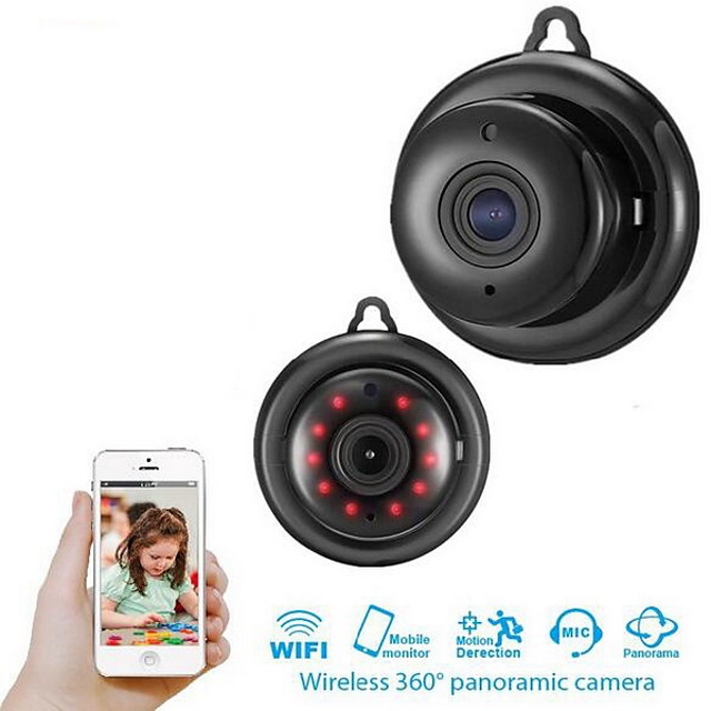 SNOSECURE Wireless 1080P HD IP Camera Two Way Audio Night Vision Video Monitor 360 Degree Panoramic Home Security WIFI Camera