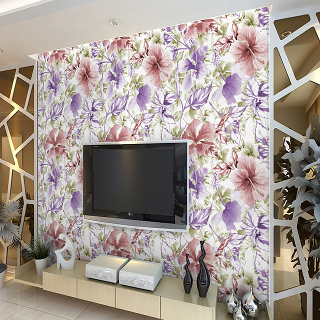 Custom Self-Adhesive Mural Wallpaper Fresh Flowers Suitable For Bedroom Living Room Coffee Shop Restaurant  Landscape Home Decoration Modern Wall Covering Canvas Material Adhesive required Art Deco