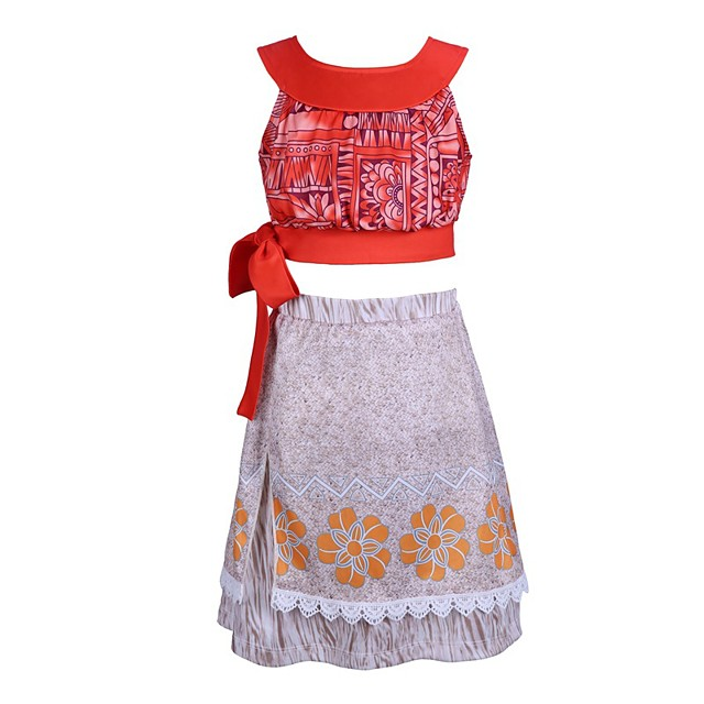 Princess Moana Skirt Cosplay Costume Outfits Girls' Movie Cosplay A-Line Slip Red Skirts Top Children's Day Masquerade Polyester