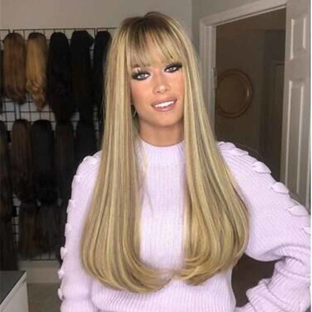 Synthetic Wig Straight Matte Middle Part Wig Long Light golden Synthetic Hair 26 inch Women's Fashionable Design Exquisite Romantic Blonde