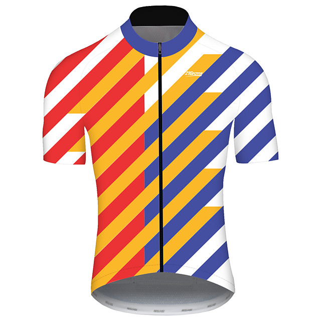 21Grams Men's Short Sleeve Cycling Jersey Spandex Polyester Red+Blue Polka Dot Bike Jersey Top Mountain Bike MTB Road Bike Cycling UV Resistant Breathable Quick Dry Sports Clothing Apparel / Stretchy