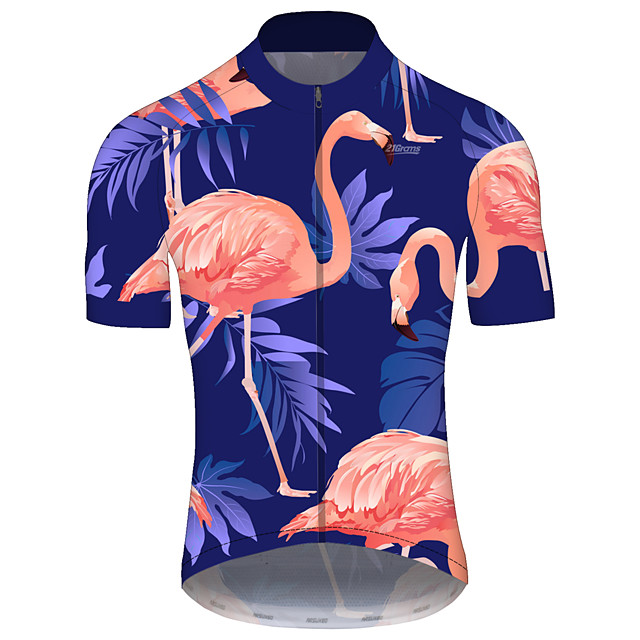 21Grams Men's Short Sleeve Cycling Jersey Spandex Polyester Blue+Pink Stripes Bike Jersey Top Mountain Bike MTB Road Bike Cycling UV Resistant Breathable Quick Dry Sports Clothing Apparel / Stretchy