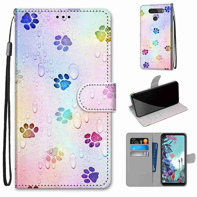 Case For LG Q70 / LG K50S / LG K40S Wallet / Card Holder / with Stand Full Body Cases Footprints PU Leather / TPU for LG K30 2019 / LG K20 2019