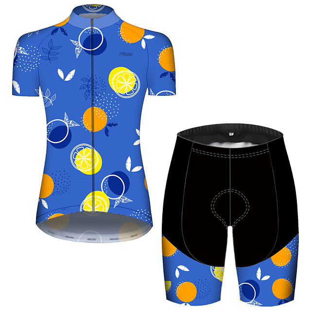 21Grams Women's Short Sleeve Cycling Jersey with Shorts Spandex Polyester Blue Fruit Lemon Bike Clothing Suit Breathable 3D Pad Quick Dry Ultraviolet Resistant Reflective Strips Sports Fruit Mountain
